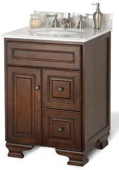 Hawthorne 24 Inch Vanity 22 inches deep.  Does not come with counter and sink