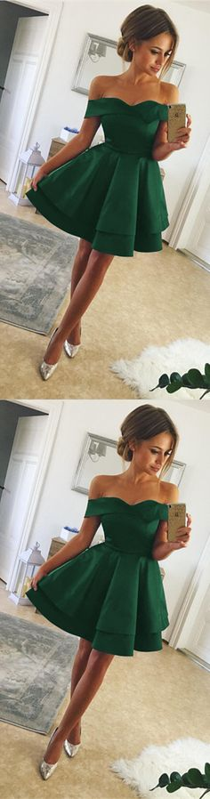 Emerald Green Satin Homecoming Dresses V-neck Off Shoulder Prom Short Dresses 2018