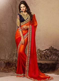 Lovely Orange And Red Satin Georgette Party Wear Saree. Online Buy Designer Saree At UK. Designer Silk Sarees, Latest Designer Sarees, Latest Sarees, Satin Saree, Red Saree, Fancy Sarees, Party Wear Sarees, Hyderabad, Chennai