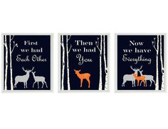Deer Nursery Art  First We Had You Quote  Navy by RizzleandRugee, $42.00