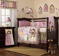 Pink And Purple Jungle Safari Animals Baby Girl 8pc Crib