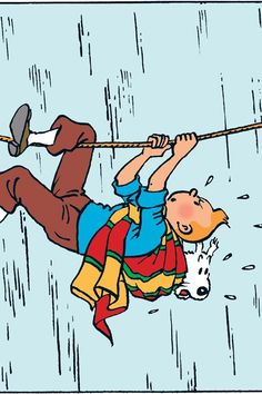 Tintin & Milou, hanging in scarf, trying to overcome a life threatening obstacle...