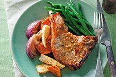 Glazed orange pork with sweet potato and parsnip