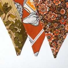 Retro Bunting Vintage Kichenalia 60s 70s fabric for  Kitchen decor Brown Olive  £15.00