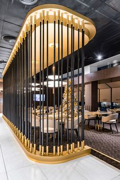 Golden Jet Restaurant has been developed for passengers who want to spend time in a more private and elegant atmosphere. The restaurant hall is. Design Entrée, Lobby Design, Design Hotel, Bar Interior, Shop Interior Design, Design Bar Restaurant, Coffee Shop Design, Restaurant Furniture, Commercial Interior Design