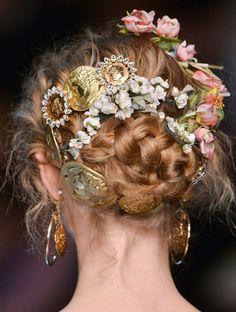 lamorbidezza:  Dolce&Gabbana Spring 2014 Details party hair, bun hairstyles, fairy hair, spring hair, romantic hair, hair wedding, wedding hairs, hair accessories, wedding hair styles