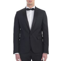 Dsquared2. Black wool and silk Tokyo tuxedo suit. Made In Italy.