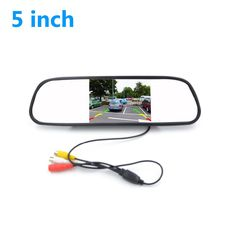"""High Resolution 5"""" TFT LCD Color Car rear view mirror monitor 480*272 video DVD player car audio auto for Car Reverse camera"""