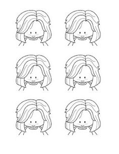 Hair practice sheets and link to several tutorials on color combos for hair and skin, etc.