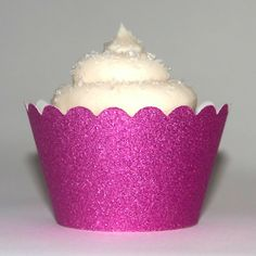 Platinum Glitter Reusable Cupcake Wrappers - CHERRY BLOSSOM, pink cupcake wrappers, sweet 16 cupcake wrappers, quinceanera cupcake wrappers, fancy cupcake wraps, bulk cupcake wrappers