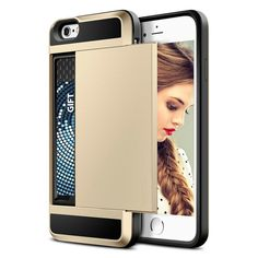 """New Hybrid Tough Capa Case For Apple iphone 5 5S SE/ 6 6S 7 4.7"""" Plus 5.5"""" Card Slider with Card Storage Armor Mobile Phone Bags * You can find more details by visiting the image link."""