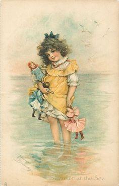 """""""Summer at the Sea"""" ~ Vintage Frances Brundage beach postcard, ca. Images Vintage, Photo Vintage, Vintage Pictures, Illustrations Vintage, Vintage Artwork, Vintage Prints, Vintage Ephemera, Vintage Cards, Vintage Paper"""