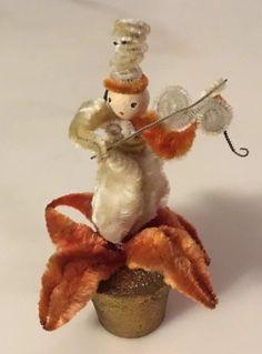 Vintage Christmas Chenille Poinsetta Musician Ornament Decoration