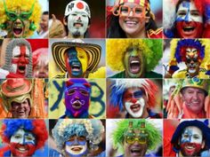 Football fans have been entering into the Brazilian carnival spirit by sporting colourful faces and vibrant wigs as they cheer on their beloved teams in the World Cup. World History Facts, History Of Wine, Art History, Fifa 2014 World Cup, Brazil World Cup, Tribes Of The World, Modern Tribe, True Colors, Colours