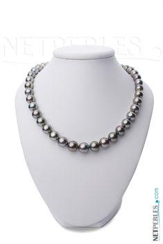 Collier de perles noires de tahiti, vraies perles de l'océan de toute beauté
