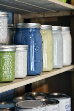 get rid of bulky paint cans that just have a little paint left; put them in jars for easy storage and clear visibility
