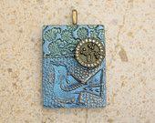 Artisan Bird Pendant Brass Silver Blue Sage Green Mixed Media Pendant