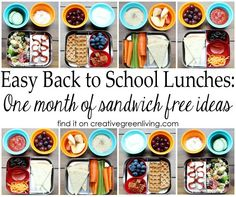 Lots of school lunch ideas! A full month menu of school lunches - no sandwiches! I think any kid will love these fun ideas.