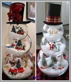 DIY Fish Bowl Snowman Christmas Decoration Crafts Tutorial-Video DIY Fish Bowl Snowman Christmas Decoration Crafts Tutorial-Video: using 3 different sized fish bowls to create Christmas scene in each.Christmas Party Ideas For Children's Ministry Chri Snowman Christmas Decorations, Easy Christmas Crafts, Homemade Christmas, Christmas Snowman, Christmas Projects, Simple Christmas, Christmas Holidays, Christmas Ornaments, Snowman Crafts