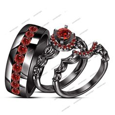 Peg Head 1.20 CT Rd Garnet 925 Silver Channel Sett. Band Wedding Trio Ring Set  #aonedesigns