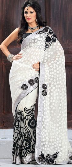 Off White Brasso Faux Georgette and Net #SareewithBlouse @ $111.45