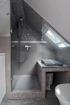 Attic Shower, Small Attic Bathroom, Attic Bedroom Small, Attic Spaces, Attic Rooms, Bathroom Wall, Bathroom Interior, Paris Bathroom, Loft Bathroom
