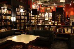 Batter Park Book Exchange. Asheville, NC. Books, wine + dessert