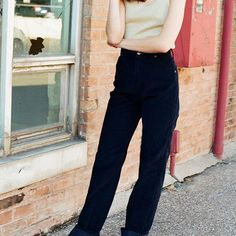 """Gorgeous, rare pair of high-waisted vintage corduroy Wranglers with pony emblem. Dark navy. Waist around 28"""", 33"""" inseam. $78 + shipping. Gold shimmery sleeveless top $30+ shipping."""