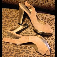 Suede Platform Slingbacks Chic suede sandals with gold metallic heel and platform...perfect for your fall closet Spiegel Shoes Platforms