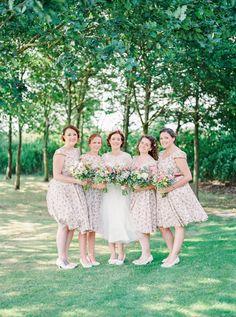 Rustic Wedding at Shustoke Farm Barn with Floral Bridesmaid Dresses Floral Bridesmaid Dresses, Flower Girl Dresses, Wedding Dresses, Bridesmaids, Shustoke Farm Barns, Tea Length Wedding Dress, Diy Dress, Rustic Wedding, Wedding Photography
