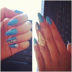 Not a fan of almond shaped nails, but I'm loving this design