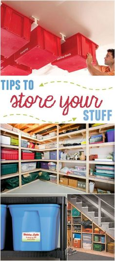 tips to store your stuff Garage, ideas, man cave, workshop, organization, organize, home, house, indoor, storage, woodwork, design, tool, mechanic, auto, shelving, car. #woodworkingtips