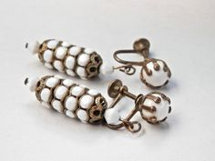 Vintage Earrings, Gold Brass Tone, Vintage Jewelry, White Plastic, Milk Glass, Screwbacks, Antique Jewelry, 1950s 1960s, Costume Jewelry by TheJewelryChain on Etsy