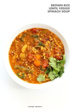 Lentil Brown Rice Soup. Easy 1 pot Lentil Rice Soup with Spinach or greens of choice. 20 minutes active time then let everything simmer. Serve with crackers, papadum or grilled vegan cheese sandwiches. Vegan Gluten-free Soy-free Recipe | VeganRicha.com