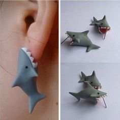 Polymer Clay Cute Cartoon Shark Earrings Stud DIY Handmade  Women Jewelry ASUB #UnbrandedGeneric #Stud