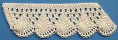 1884 Knitted Lace Sample Book: 13. Shell Pattern; With chart and written instruction