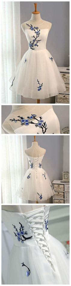 Cute Embroidery White Short Homecoming Prom Dresses, Affordable Short Party Prom Sweet 16 Dresses, Perfect Homecoming Cocktail Dresses, Source by dresses cocktail Cheap Sweet 16 Dresses, Trendy Dresses, Elegant Dresses, Short Dresses, Fashion Dresses, Formal Dresses, Cute Homecoming Dresses, Prom Party Dresses, Dress Party
