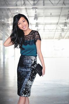 Holiday Office Party: Lace Sweater Tee + Sequin Skirt by Extra Petite Fashion Mode, Petite Fashion, Look Fashion, Fashion Black, Womens Fashion, Christmas Party Outfits, Holiday Party Outfit, Christmas Dresses, Holiday Dresses