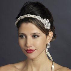 Side Accent Crystal Satin Ribbon Bridal Headband--Affordable Elegance Bridal -