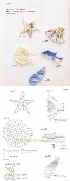 sea shells crochet appliques