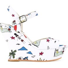 Alice+Olivia Jana Sandals (£305) ❤ liked on Polyvore featuring shoes, sandals, white, open toe sandals, wedge heel sandals, wedges shoes, dressy sandals and white shoes