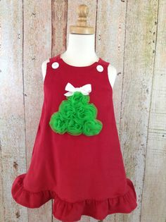 A Line Dress - Red -Christmas Tree- Holiday - Polka Dot - Children - Baby Dress - Toddler Dress - Monogram - Childrens Clothes - Size 3T - 8