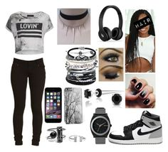 """""""gray and black"""" by sweetheart-bk ❤ liked on Polyvore featuring Bling Jewelry, Nixon, Swarovski, Domo Beads, Jewel Exclusive and Religion Clothing"""