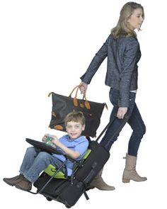 Ride-On Carry-On!!  Such a great product.  If you travel with young kids you need one!!!  It has saved me so much stress when traveling with my little ones.  The kids love it!!  No more checking a stroller at the gate!!  Your little one can ride right down the aisle of the plane to your seats!  And just folds up and stores with your suitcase in the overhead compartment!!!!!