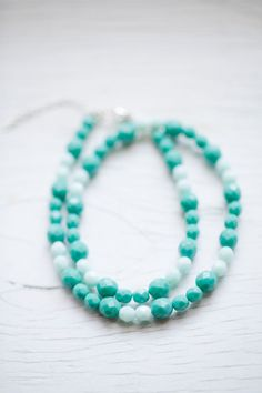 Mint Round Glass Bead Necklace