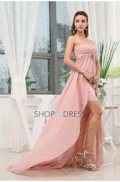 Empire Straight Neckline Beaded Zip up Prom Dress