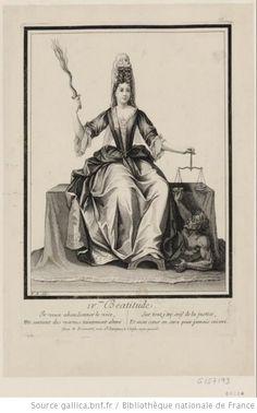IV.me Béatitude : Une femme tenant d'une main une balance et de l'autre une flamme : [estampe] - 1