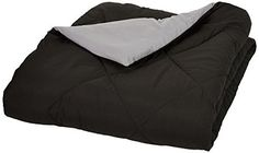 AmazonBasics Reversible Microfiber Comforter - Full/Queen, Black