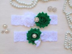 wedding garter set white/green bridal garter set by venusshop, $19.90