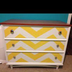 "Kami Jo's ""new"" dresser! (paint, stain, chevron design)"